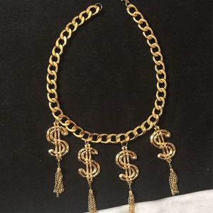 Moschino Dollars Tassels Chain Necklace Gold