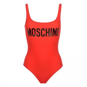 Moschino Contrasting Logo Swimsuit Red