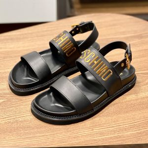 Moschino Embroidery Logo Sandals Black