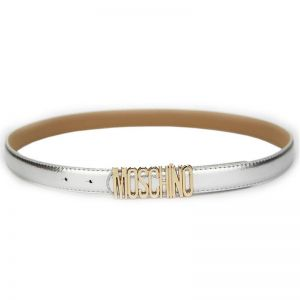 Moschino Logo Buckle Small Patent Leather Belt Silver