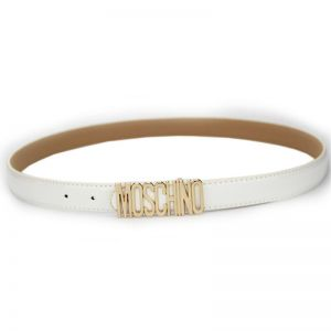 Moschino Logo Buckle Small Patent Leather Belt White