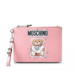 Moschino Safety Pin Teddy Clutch Pink