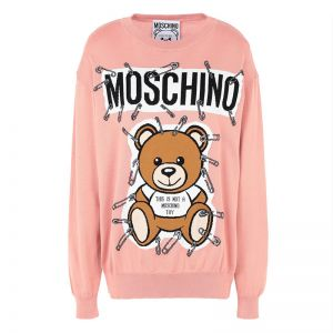 Moschino Safety Pin Teddy Sweater Pink