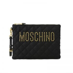 Moschino Studded Logo Quilted Clutch Black