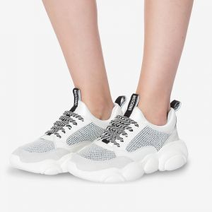 Moschino Teddy Sole Mesh Sneakers White