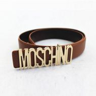 Moschino Logo Buckle Large Leather Belt Brown