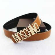 Moschino Logo Buckle Large Embossed Belt Brown