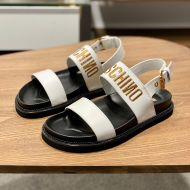 Moschino Embroidery Logo Sandals White