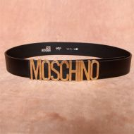 Moschino Logo Buckle Large Cow Leather Belt Black/Gold