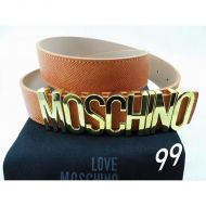 Moschino Logo Buckle Large Embossed Leather Belt Brown