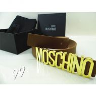 Moschino Logo Buckle Large Embossed Leather Belt Coffee