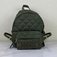 Moschino Logo Quilted Backpack Green