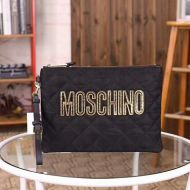 Moschino Logo Quilted Clutch Black/Gold