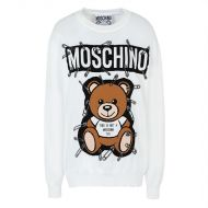 Moschino Safety Pin Teddy Sweater White
