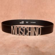 Moschino Logo Buckle Large Cow Leather Belt Black/Silver
