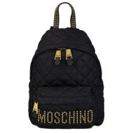 Moschino Studded Logo Quilted Backpack Black